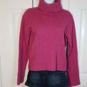 J. Crew Pink Cropped Wool Turtleneck Sweater